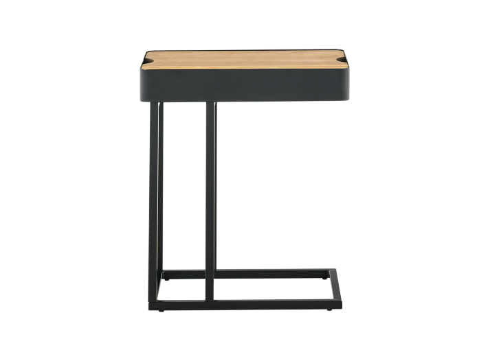 bout de canape metal noir plateau bois table basse d 39 appoint salon s jour meuble fly. Black Bedroom Furniture Sets. Home Design Ideas