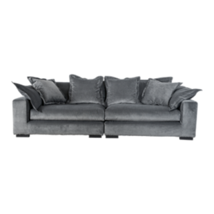 FLY-canape fixe 4 places tissu gris clair