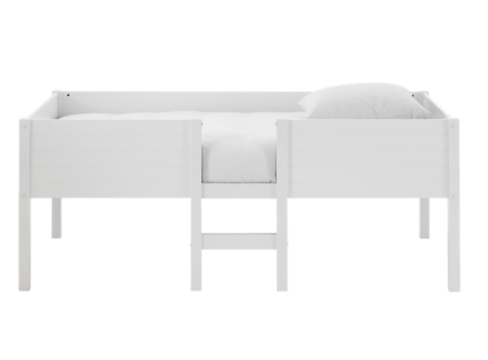 lit 90x190cm mi haut laque blanc fly. Black Bedroom Furniture Sets. Home Design Ideas