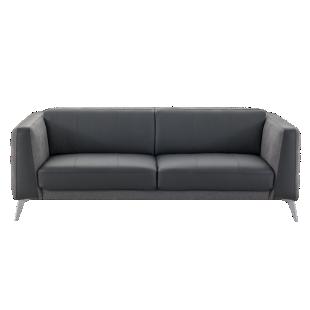 FLY-canape 3 places cuir noir et tissu gris