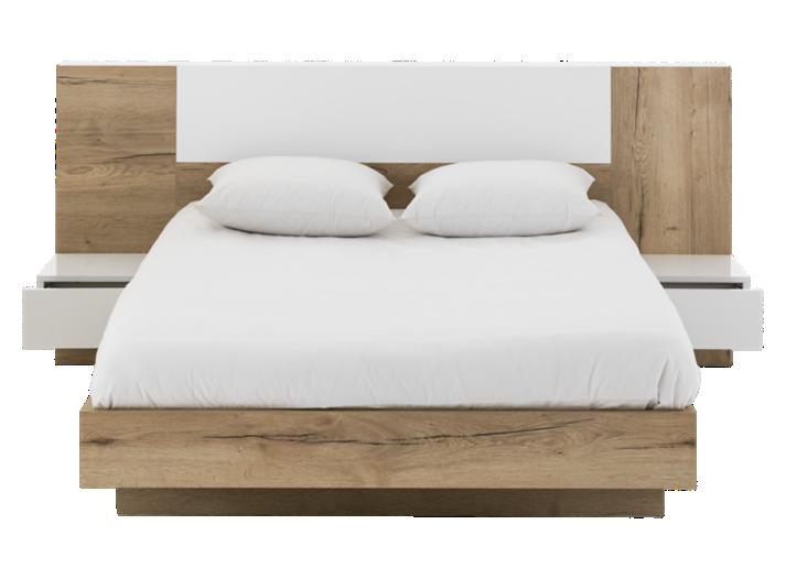 lit 140x190cm avec chevets attenants blanc chene lit adulte lit literie fly. Black Bedroom Furniture Sets. Home Design Ideas