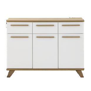 Bahut 3 portes 2 tiroirs gris chene sonoma meuble de for Fly bahut