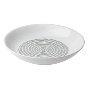 FLY-assiette creuse en gres d21cm blanc/taupe
