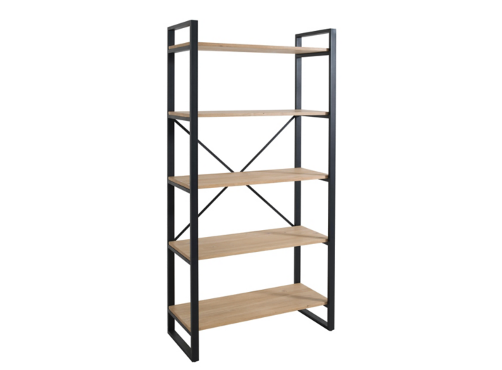 Etagere 5 tablettes noir miel biblioth que salon s jour meuble fly - Etagere bibliotheque fly ...