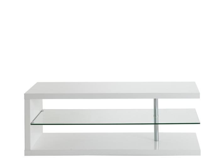 Meuble tv hifi blanc verre fly for Meuble chaine hifi en verre