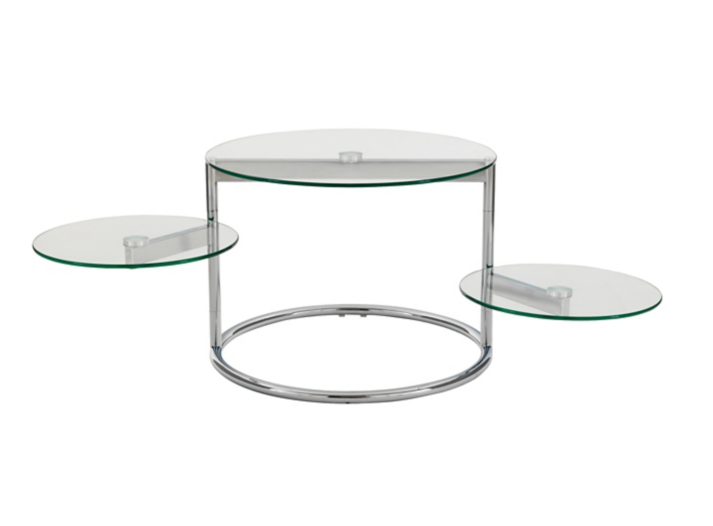 Table basse 3 plateaux verre chrome fly for Table ronde verre fly
