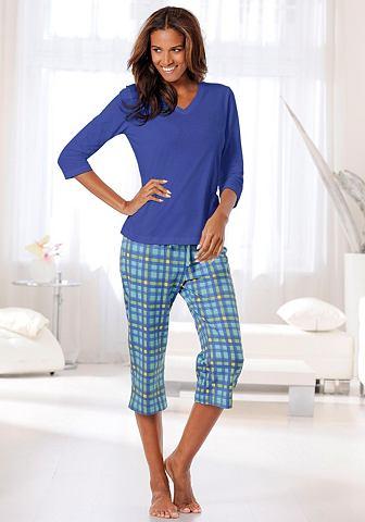 Пижама капри с клетчатый брюки & p...