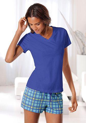Пижама с клетчатый шорты & футболк...