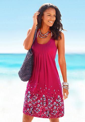 Платье пляжное с цветочным узором