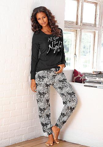 Пижама с узором брюки с карманы