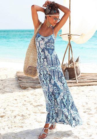 Платье-макси длинное с ацтекский принт...