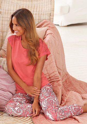 S.OLIVER RED LABEL Bodywear изящный пижама с пестрый и кр...