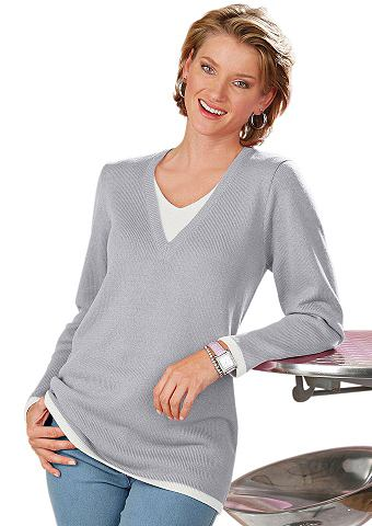 Пуловер с контрастный вставка на с V-о...