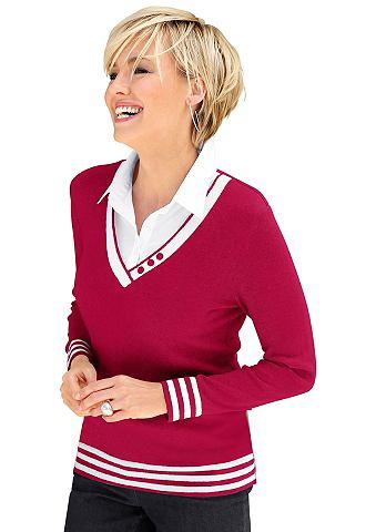 Пуловер с декоративные пуговицы на с V...