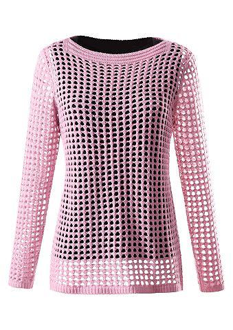 Пуловер с luftigem ажурный узор с дыро...