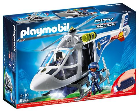 PLAYMOBIL ® Polizei-Heli + LED Suchscheinwer...