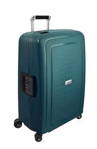 Пластиковый чемодан на колесиках с 4 к...