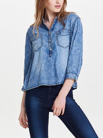 Короткая пошив рубашка джинсовая