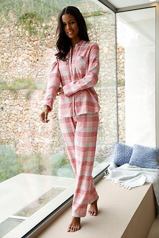 Клетчатый пижама с воротник & пуго...