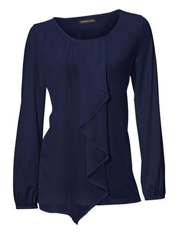 Блуза с круглым вырезом c воланами