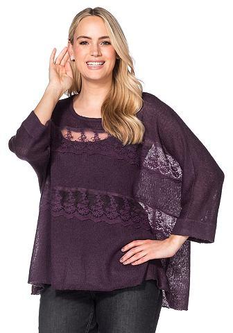 Пуловер Oversized с Spitzeneinsatz