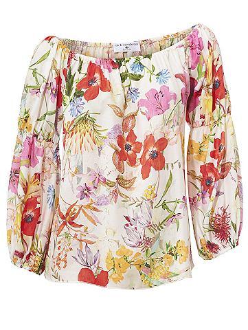Блузка с набивным рисунком цветы