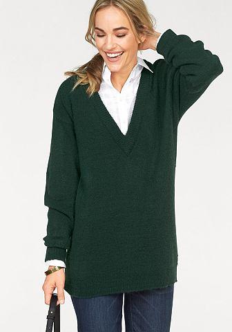 Трикотажный пуловер с tiefem с V-образным вырезом