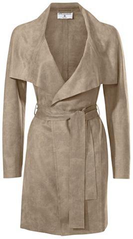 Пальто из искусственной кожи с пояс