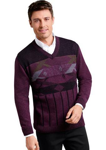 Пуловер с V-образным вырезом с графиче...