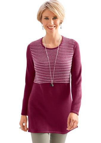 Пуловер длинный из flauschigem Garn