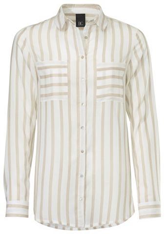 Блузка в полоску с Hemdblusenkragen