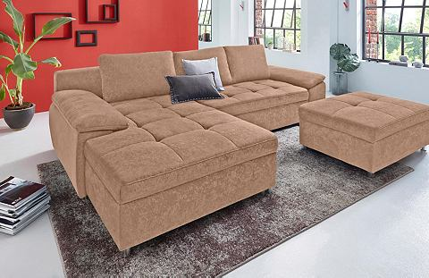 ; Kampinė sofa XXL su miegojimo funkcija ir dėže patalynei