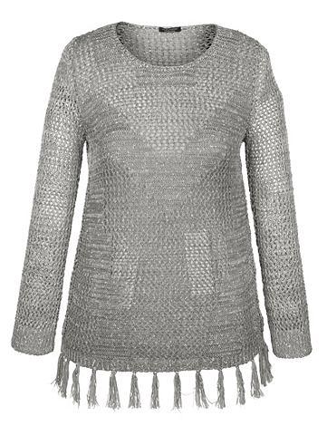 Пуловер с бахрома на кромка