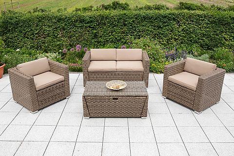 Sodo baldų komplektas »Lipari« 12-tlg. 2 Fotelis 2er-Sofa stalas 110x55 cm Polyrattan