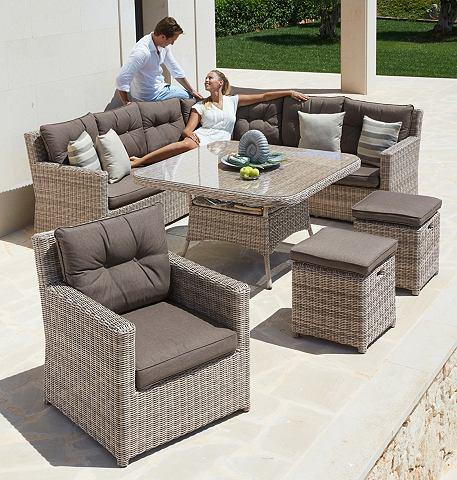 Sodo baldų komplektas »Bahamas« 25-tlg. Ecklounge Fotelis 2 Kojų kėdutė stalas Polyrattan