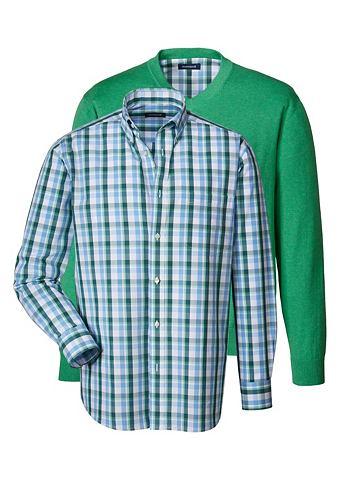 Комплект: пуловер и рубашка в клетку в...