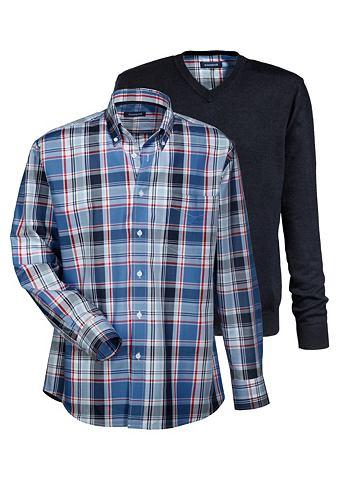 Комплект: пуловер с рубашка в клетчаты...