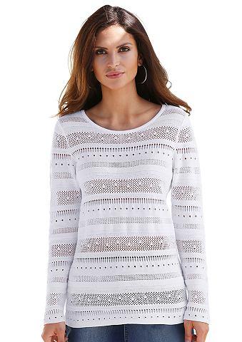 Пуловер в Ajour-Streifenmuster