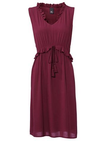 Платье на бретелях с оборка