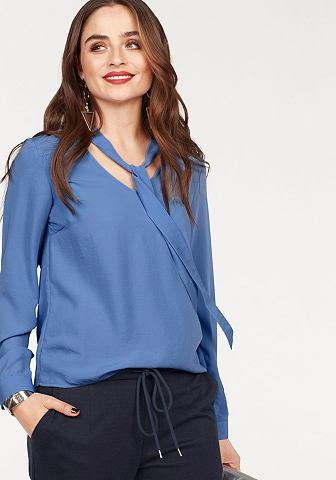 Блузка с бантом »CARO« из небольшой атлас