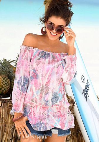 Блуза в стиле кармен с цветочный узор