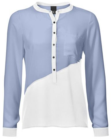 Блузка-рубашка с сочетание материалов
