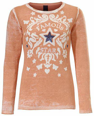 Пуловер с узором с с пайетками