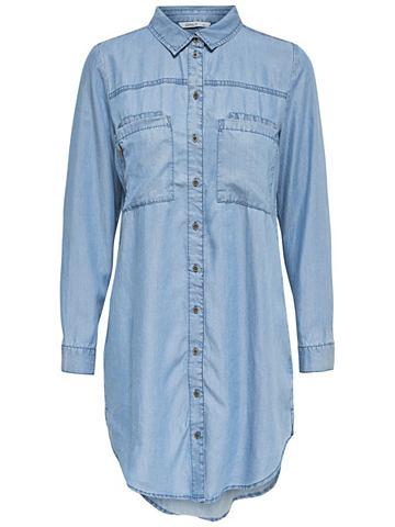 Длиная рубашка джинсовая