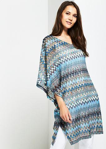 Вязаное пончо с красочный узор