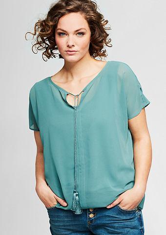 Блузка с круглым воротником из крепа
