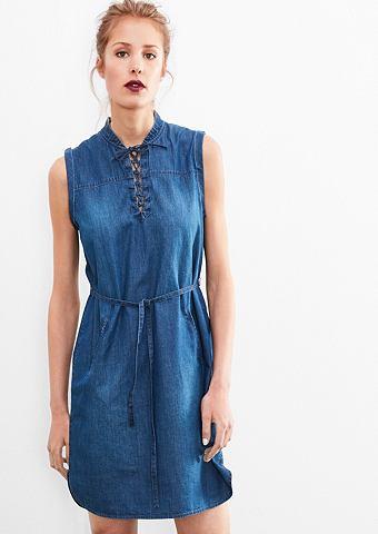 Лёгкий платье в имитация джинсовой тка...