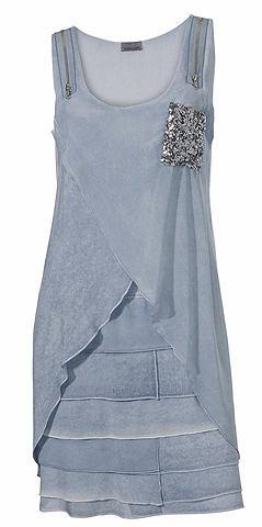 Платье на бретелях в асимметричный пок...