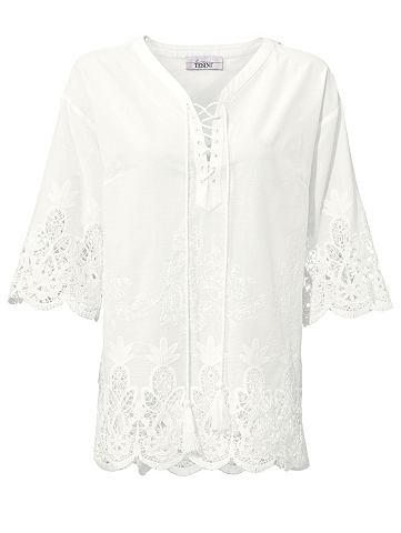 Блузка с кружевом с завязывание