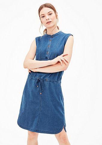 Джинсовое платье с плетеный узор